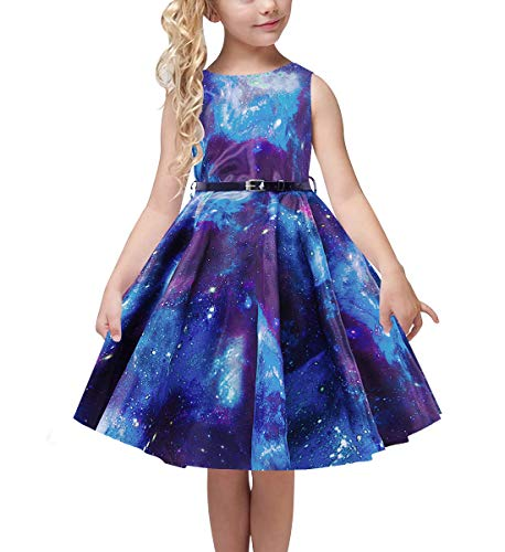 uideazone Twirly Girl Sundress Galaxy Patterns Dresses Retro Delicate Costume Cocktail Pleated Skirt with Belt 8-9 Years Blue -