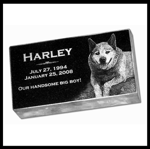 Personalized Custom Engraved Granite Pet Memorial by Eric @ StoneArtUSA / Marker Gravestone Garden Stone Monument Markers Memorials Laser Etched w/ Photo Dog Cat Horse 10x6x2