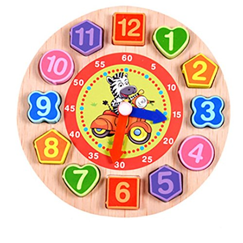 Beaded Squeeze Toy (Cartoon Animal Educational Toys For Children Wooden Beaded Digital Clock Puzzle Toy (A))