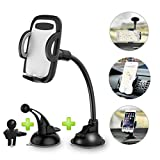 Car Phone Mount, COOWIND 3-in-1 Windshield Dashboard Air Vent-360 Rotatable Universal Car Phone Holder for iPhone X/8/8Plus/7/7Plus/6s/6Plus/5S, Galaxy S5/S6/S7/S8, Google Nexus, LG, Huawei and More