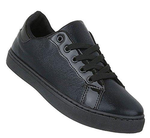 Damen Sneakers Lack   Sportschuhe Schnürer   Freizeitschuhe schwarze Sohle   Seitlich Lack   Turnschuhe Low   Schuhcity24 Schwarz