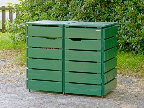 2er Mülltonnenbox / Mülltonnenverkleidung 240 L Holz, Deckend Geölt Tannengrün