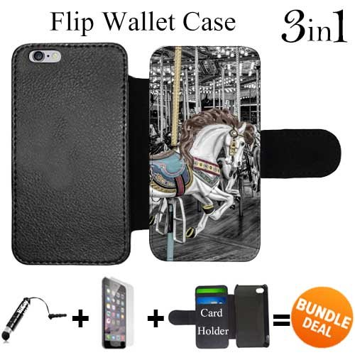 Vintage Purses Ebay - Flip Wallet Case for iPhone 6/6S (Vintage Carousel Horse) with Adjustable Stand and 3 Card Holders | Shock Protection | Lightweight | Includes HD Tempered Glass and Stylus Pen by Innosub