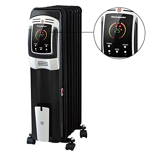 Homeleader Electric Oil Filled Radiator Heater, Full Room Oil Heater with LED Display Screen, 24-Hour Timer and Remote Control, Electric Space Heater, Black, 1500W