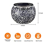 voona Solar Mosaic Glass Table Lights 2 Pack Waterproof Warm White LED Silver Night Lights Table Lamps Outdoor Garden Indoor Decoration (Silver)