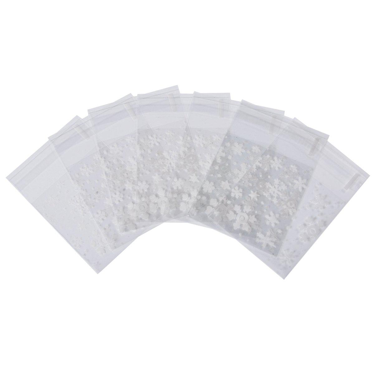 HOUSWEETY Weihnachten Schnee Tuetchen Druckverschlussbeutel Verpackungsbeutel 10.3x6.5cm, 50 Stk HOUSWEETYB94827