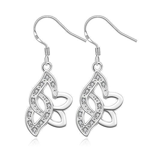 [Fashion Silver Jewelery Zircon Flower Dangle Earring Women Drop Earrings for Gift-Alan M.Arevalo] (Homemade Flower Fairy Costume)