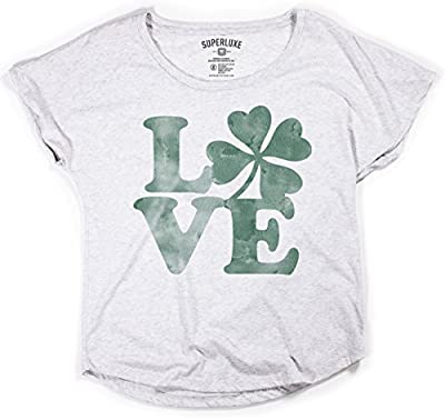 Superluxe Clothing Womens Love Clover ST Patricks Day Flowy Tri-Blend Dolman T-Shirt