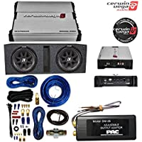 CERWIN-VEGA MOBILE XED71000.1M Amp 1,000 Watts + PAC SNI-35 Variable LOC Line Out Converter + 2) Kicker C10 10 600 Watt Car Subwoofers + Box + Wire Kit