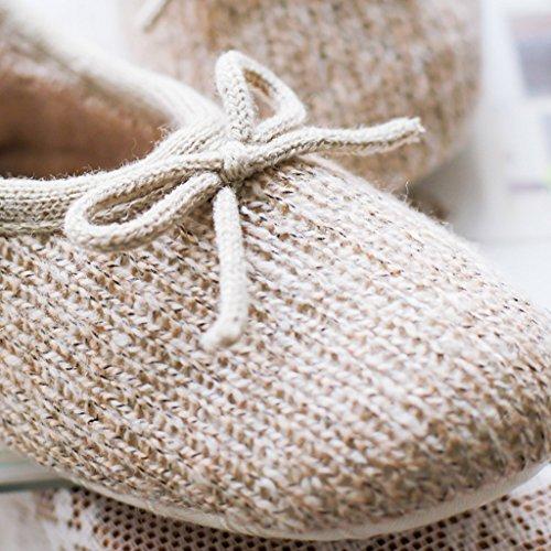 Fortuning's JDS Le donne delle signore delle ragazze stile semplice Accogliente maglieria cotone Casa Calzature Marrone comodo Flatform pantofole