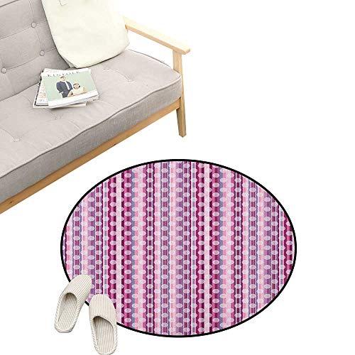 - Purple Round Area Rug Super Soft Anti-Slip ,Barcode Style Vertical Stripes Background with White Polka Dots European Motifs, Children Girls Room Decorato 23