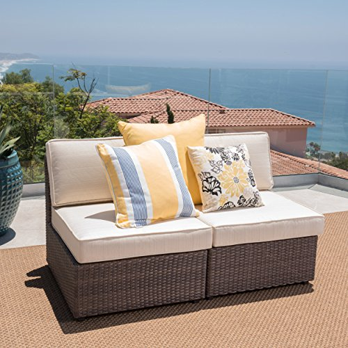 Christopher Knight Home (GDF Studio) Santa Cruz Outdoor Hazelnut Brown Wicker Armless Sectional Sofa Seat with Beige Water Resistant Cushions (Set of 2)