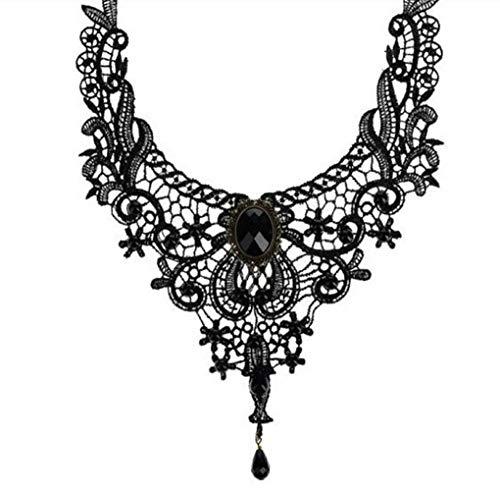 Countonme Retro Handmade Choker Necklace for Women Black Lace Gothic Halloween Costume Vampire Choker Princess Lolita Victorian Necklace Pendant