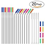 Stainless Steel Straws,Set of 16 10.5'' FDA-Approved Reusable Drinking Straws,Metal Drinking Straws with 24 Soft Silicone Tips for 20&30oz Tumblers Cups Mugs with 4 Cleaning Brushes (8 bent+8 straight)