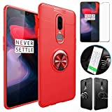 OnePlus 6T Case with HD Screen Protector,I VIKKLY Slim Flexible and Durable Soft [TPU] 360 Degree Rotating Ring Kickstand Shockproof Case Fit Magnetic Car Mount for OnePlus 6T 6.4'' (2018) (Red)