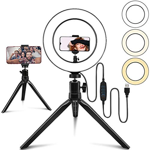 """Belifu 10"""" Selfie Ring Light with 2 Mini Tripod Stand, 3 Modes 10 Brightness Levels with 120 LED Bulbs, LED Ring Light with Phone Holder for Vlogs, Live Stream, Phone,YouTube,Self-Portrait Shooting…"""