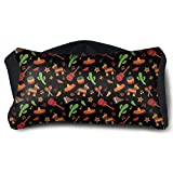 GLing-LIFE Mexican Guitar Sombrero Maracas Chili Cactus Portable Voyage Pillow Travel Pillow and Eye Mask 2 in 1 Neck Head Support for Airplanes, Cars, Office Naps, Camping, Trains