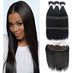 GRACE PLUS Peruvian Straight Hair 3 Bundles with Frontal Lace Closure 13x4 Ear to Ear Frontal Closure with Bundles 100% Unprocessed Human Hair Extensions Natural Color (16 18 20+16)