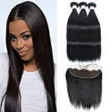 Cheap GRACE PLUS Peruvian Straight Virgin Hair Weave Lace Frontal Closure with 3 Bundles 13X4 Ear to Ear Frontal Lace Closure with Baby Hair 7a Unprocessed Human Hair Extensions Natural Color (12 12 14+10)