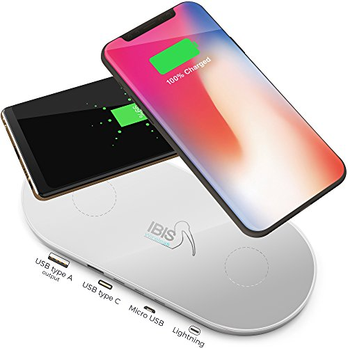 IBIS Wireless Dual Qi Wireless Charging Station Fast Charges 3 Devices at Once – Certified Smartphone Charger with USB C, Lightning, Micro Ports – Charging Pad for iPhone X, 8, Galaxy S, Note and More