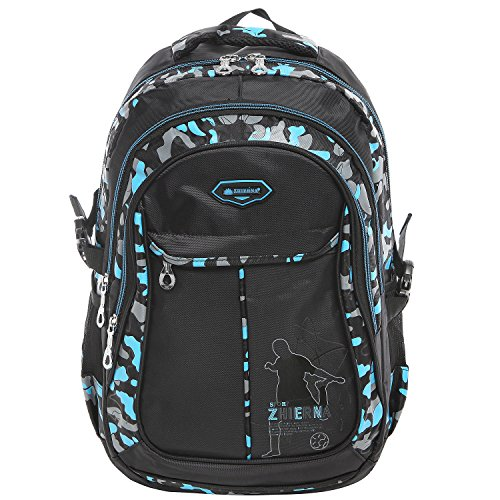 17 Inch Blue Camo Design Outdoor Sports Backpack / School Student Book Bag