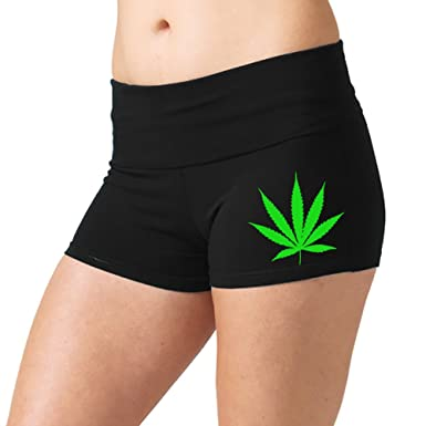 Women's Tiny Weed Leaf V360 Black Yoga Workout Booty Shorts Small Black
