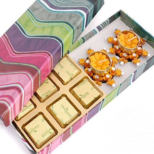 Ghasitaram Gifts Pink Printed Sugarfree Chocolate Hamper with Orange T-lites