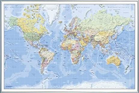 Amazon maps poster and frame plastic political world map maps poster and frame plastic political world map german 36 x gumiabroncs Image collections