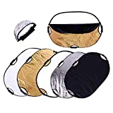 5-in-1 Oval Light Reflector with Handle 24 x 35 inch (60x90cm) Collapsible Portable Photo Reflectors for Soft Box Studio Photography Lighting