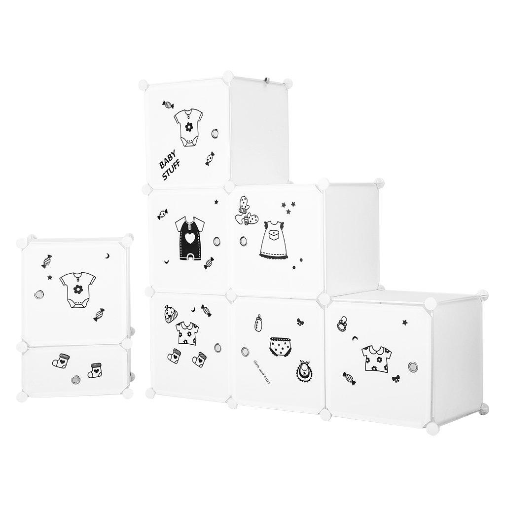 LANGRIA Set Armoire Penderie Modulable 6 Cubes et Table de Chevet avec 2 Cubes Meuble Rangement Chambre Enfants Blanc Autocollants Icones Habilles B/éb/é pour D/écor 1 Tige de V/êtements B/éb/és