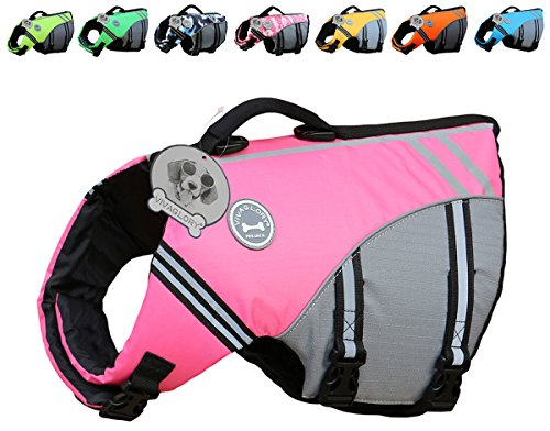 Vivaglory New Sports Style Ripstop Dog Life Jacket with Superior Buoyancy & Rescue Handle, Pink, M by Vivaglory
