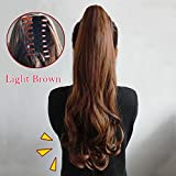 WTB Hair 180g Claw Clip Drawstring Ponytail Fake Hair Extensions False Hair Pony Tails Horse Tress Curly Synthetic Hairpieces (light brown)