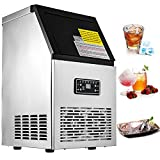 VEVOR 110V Commercial Ice Maker 230W Stainless Steel Ice Cube Maker Machine 110LBs Ice Making Machine for Home Supermarkets Cafes Bakeries Bars Restaurants Snack Bars (Production 110 lbs / day)