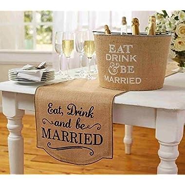 Mud Pie Burlap  Eat Drink & Be Married  Table Runner