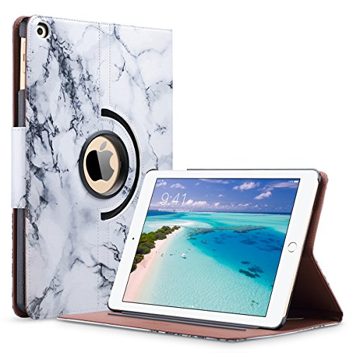 ULAK iPad 2018/2017 iPad 9.7 inch Case, iPad Case Marble, Slim Lightweight PU Leather Rotating Folio Stand Smart Case Cover with Auto Sleep/Wake Function for iPad 9.7-inch 2017/2018-Artistic - Girls Cases Ipad For