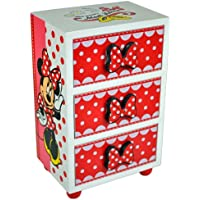 BARGAINS-GALORE MINNIE MOUSE BEDROOM 3 DRAWER CHEST CABINET STORAGE JEWELLERY BOX KIDS WOODEN UNIT BOX NEW
