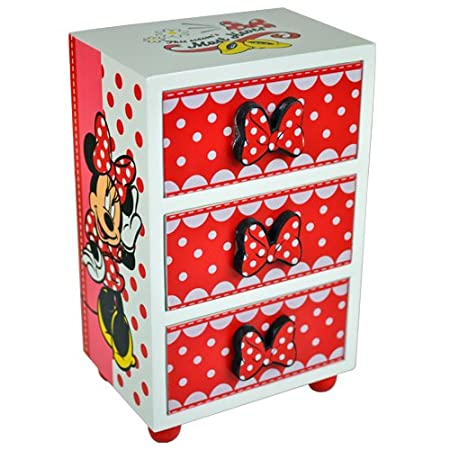 MINNIE MOUSE BEDROOM 3 DRAWER CHEST CABINET STORAGE JEWELLERY BOX