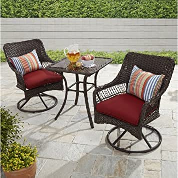 Better Homes and Gardens Colebrook 3-Piece Outdoor Bistro Set, Seats 2 Red