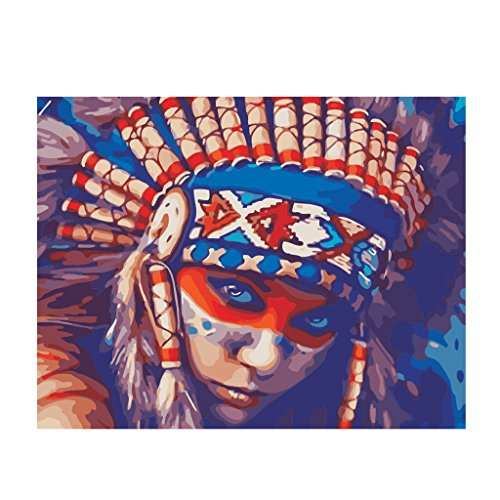 MonkeyJack Unframed DIY Painting by Numbers for Adults Children's Paint by Number Kits Drawing with Brushes Paint Suitable for All Skill Levels 40x50cm - Indians, 40x50cm