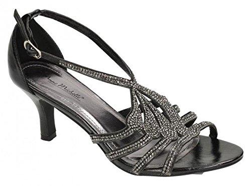 Ann Michelle Ladies Womens New Mid Stiletto Heel Ankle Strap Evening Sandals Shoes Size 3-8 Black rAt6e