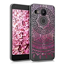 kwmobile Crystal TPU Silicone Case for LG Google Nexus 5X in Design Indian sun dark pink transparent