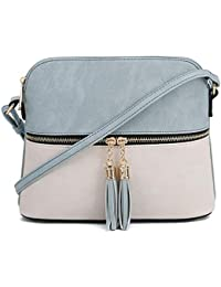 Lightweight Medium Dome Crossbody Bag with Tassel |...
