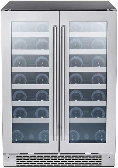 Zephyr Presrv Dual Zone Wine Cooler with Glass French Door. 24 Inch 5.15 cu/ft. Refrigerator for Under Counter, Wine Fridge, 21 bottles, Full-Size Built-In Wine Cellars