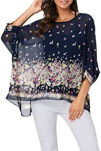 7afbfd002bc Nicetage Bohemian Floral Chiffon Blouse Casual Batwing Blouse Hippie Semi  Sheer Loose Tops
