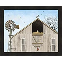 Home Cabin Décor Winds Aloft by Billy Jacobs 26x32 Weathered Barn Windmill Horse Weathervane Hayloft Chicken Framed Art print Picture