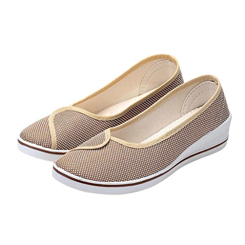 Dear Time Women Canvas Slip On Flats Shoe Beige h2aefV21es