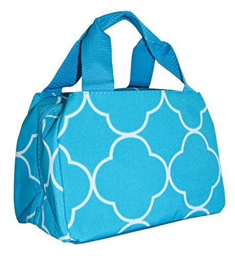 Ever Moda Teal Quatrefoil Moroccan Insulated Lunch Bag 10-inch