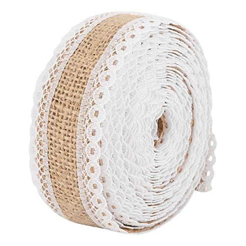 (DIY Craft Supplies - 5m Diy Lace Rustic Burlap Hessian Ribbon Jute Belt Strap Wedding Cloth Decoration Weddings Floristry - Adults Craft Kids Supplies)