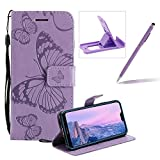 Strap Leather Case for Huawei P20,Wallet Leather Case for Huawei P20,Herzzer Premium Stylish Pretty 3D Purple Butterfly Printed Bookstyle Magnetic Full Body Soft Rubber Flip Portable Carrying Stand Case with Card Holder Slots