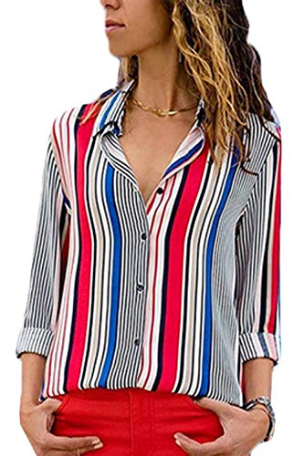 Femmes Tops Manches 4 3 Casual Bouton Rayures Chemise Stripes2 AWAqrd071